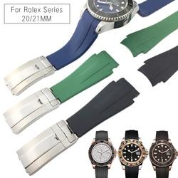20mm 21mm alta qualidade novo estilo de borracha silicone pulseira relógio dobra fecho banda se encaixa para rolex deepsea daytona submariner gmt relógio