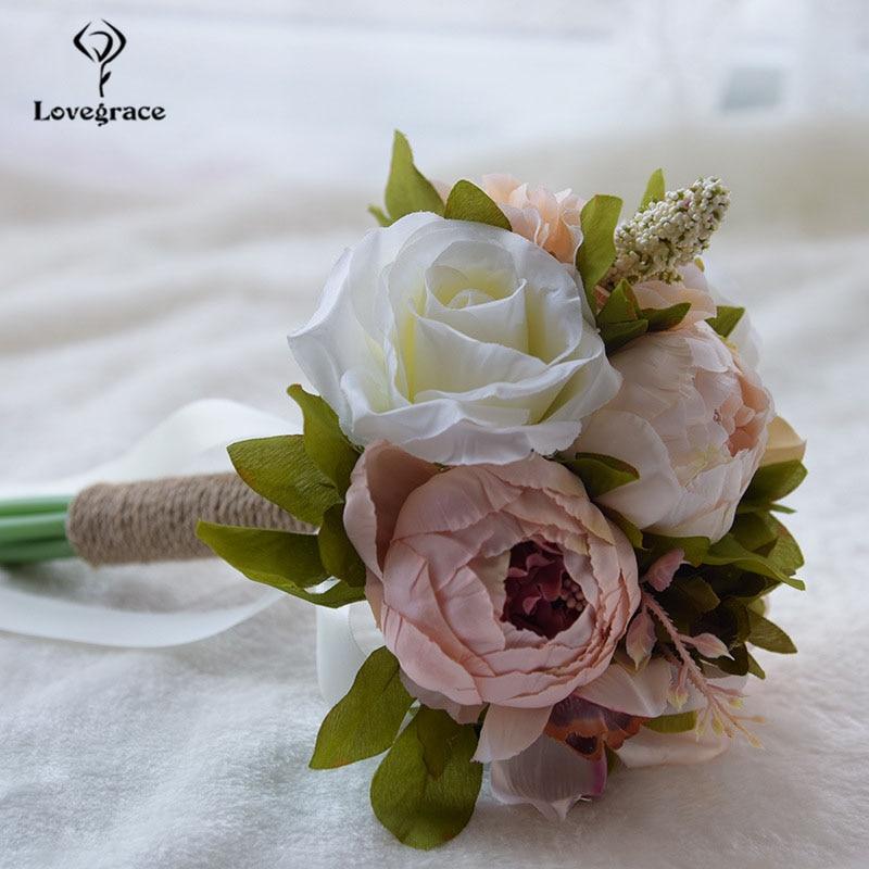 Lovegrace flor ramo de bodas dama de honor flor Artificial de seda Rosa peonía ramo de hortensias fiesta Prom boda suministro