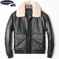 plus size thick warm sheepskin genuine pilot mens turn down collar detachable zipper real leather aviator jacket