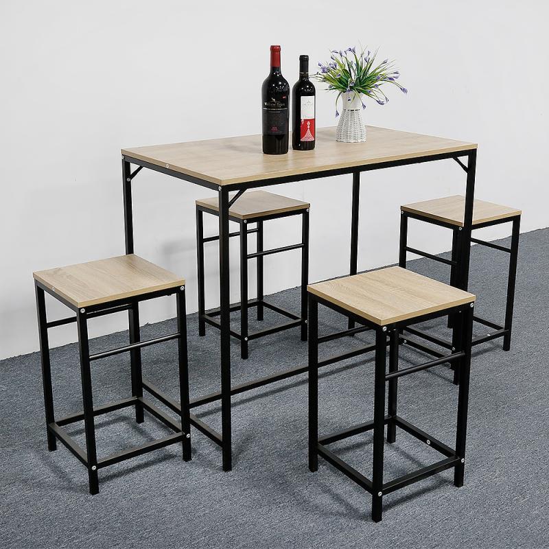 أثاث المطبخ طاولة خشب الحبيبي مع 4 كراسي دائم طاولة طعام المنزل وكرسي الأثاث دعوى مجموعة غرفة الطعام HWC