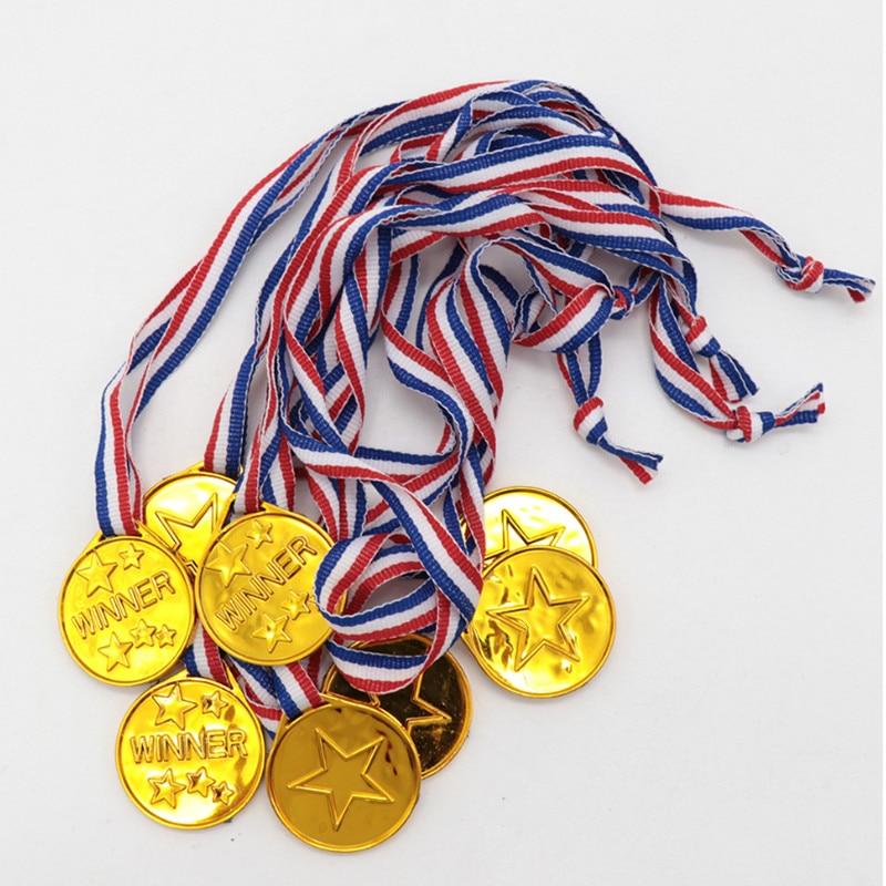 5 PCS Plastic Winner Gold Medal Award Reward Encourage School Supplies Outdoor Games Kids Games Toy