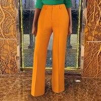 high waist bag hip slim solid color stretch wide leg pants s xxxl plus size women casual pants pantalon pour femme