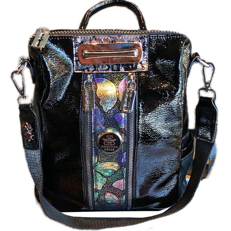حقيبة ظهر فاخرة مصممة على شكل فراشة ملونة ، حقيبة كتف ، ماركة جلدية مطرزة ، برشام ، سعة كبيرة ، للسفر