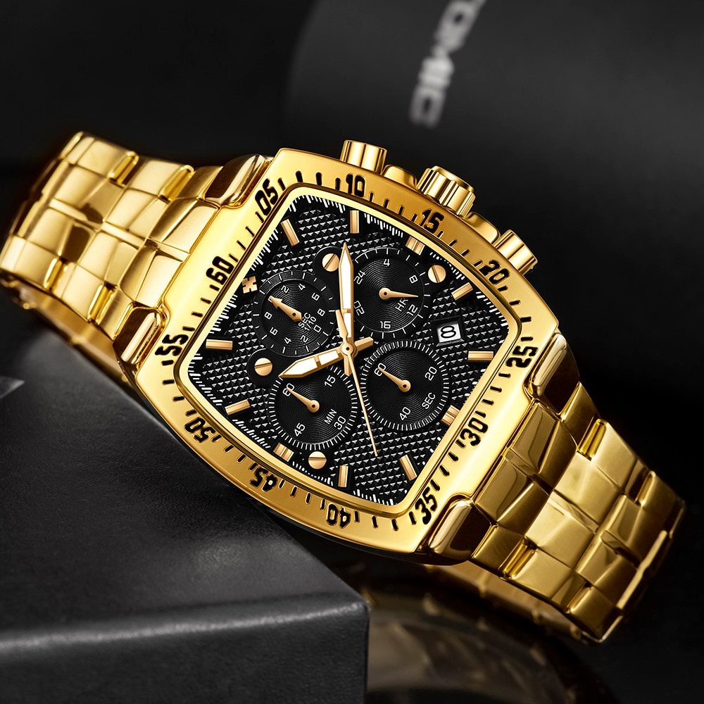 Мужские часы 2021 WWOOR роскошные квадратные часы мужские военные стальные золотые черные Кварцевые водонепроницаемые спортивные наручные час...