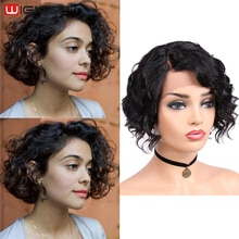 Pelucas de cabello humano rizado corto Wignee, parte de encaje, para mujeres negras, sin pegamento, pelo brasileño Remy, corte Pixie Swiss Lace, pelucas humanas baratas