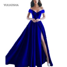 YULUOSHA Sexy Elegant Evening Dress A-Line Sleeveless Floor-Length V-Neck Backless Formal Gown Vesti