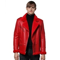 quality winter top genuine leather clothing male genuine sheep leather mens clothing outerwear red mens winter warm coat