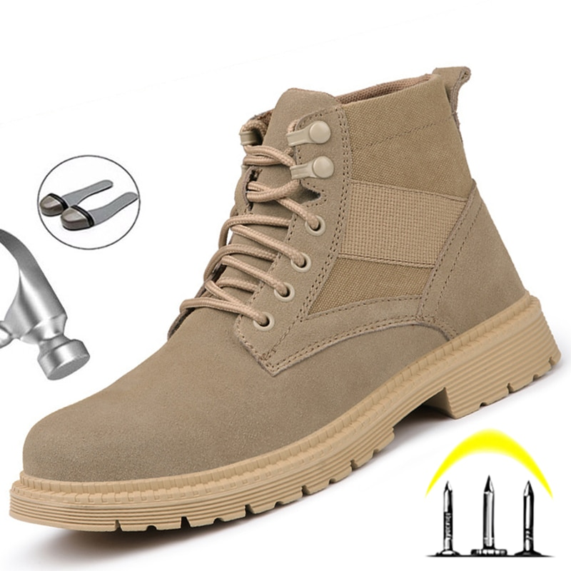 Work Safety Shoes for Men Ankle Boots Indestructible Work Shoes Men Boots Safety Steel Toe Anti-Punc
