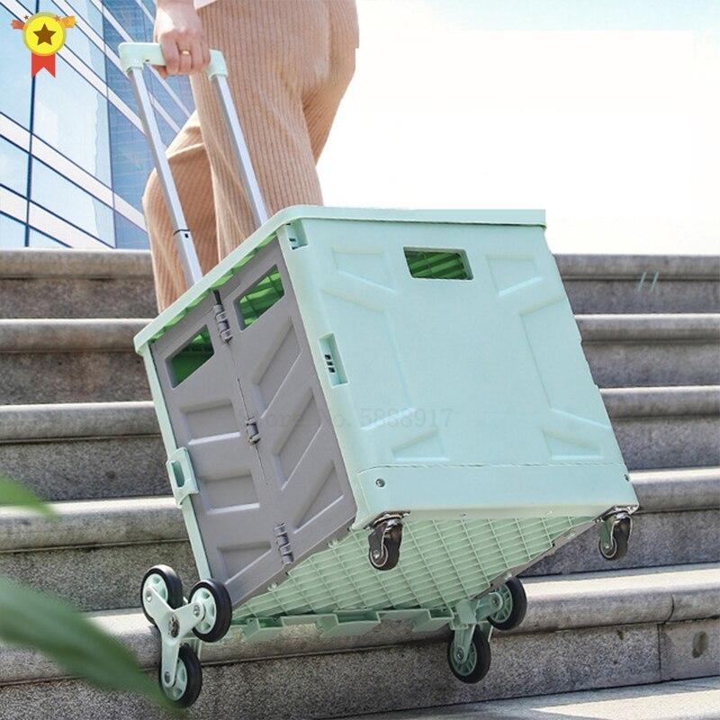 8 عجلات صغيرة المقطورات يمكن سحب عربات المنزلية للطي عربات تسوق ، الأسطوانة عربة سوبر ماركت عربات تسوق ، تسلق عربات