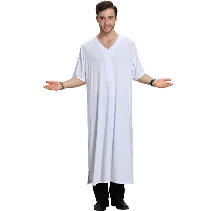 Muslim fashion mid-sleeved V-neck summer cool men's robe Saudi Arabia national casual men's long skirt Islamic men's loose robe