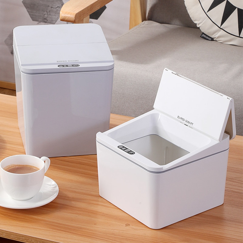 Купить с кэшбэком Trash Can Automatic Touchless Intelligent Induction Motion Sensor Car Trash Can Storage Box Desk Dormitory Office Tissue Box
