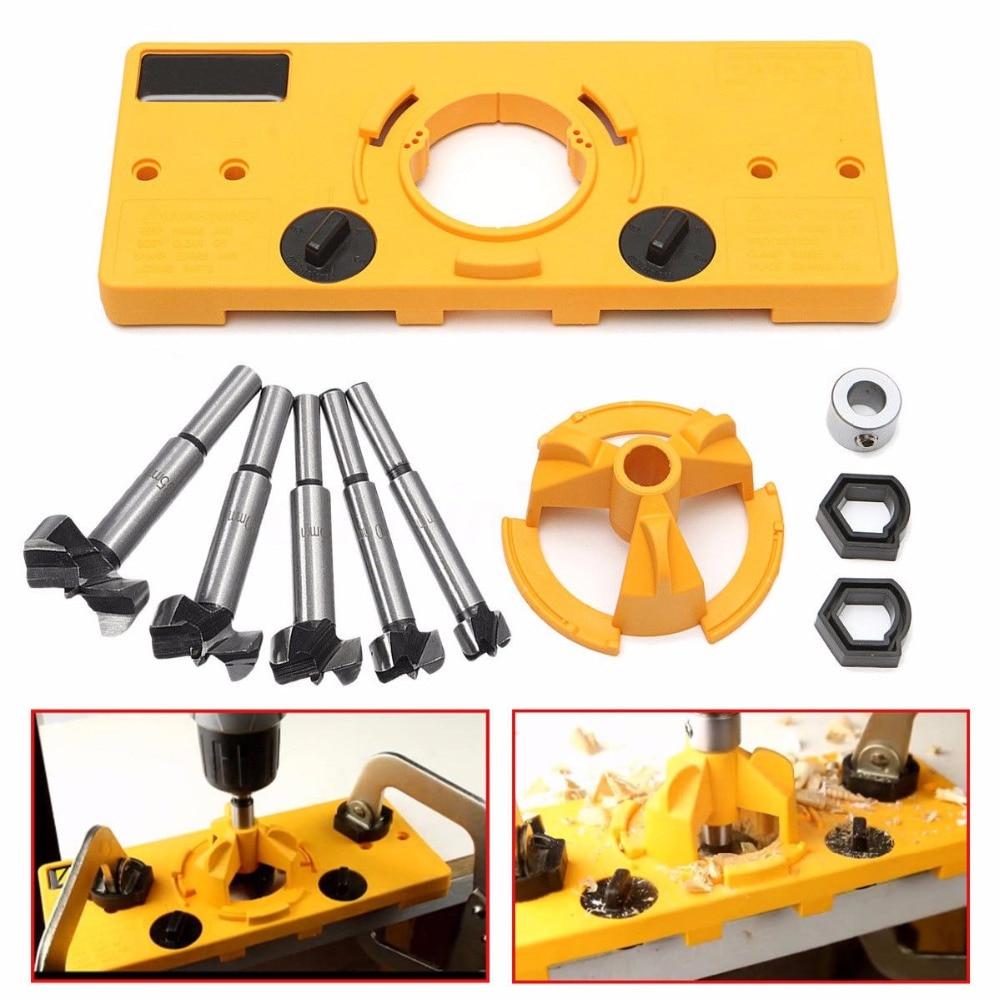 隠し35mmカップスタイルヒンジジグボーリングホールドリルガイド+フォルストナービットウッドカッター木工DIYツール