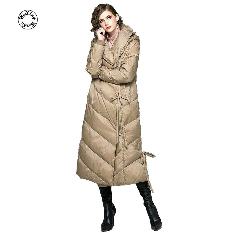 Фото - Woxingwosu lady's hooded long down jacket, women's long sleeved warm down coat size M to 2XL пуховик long down jkt 1