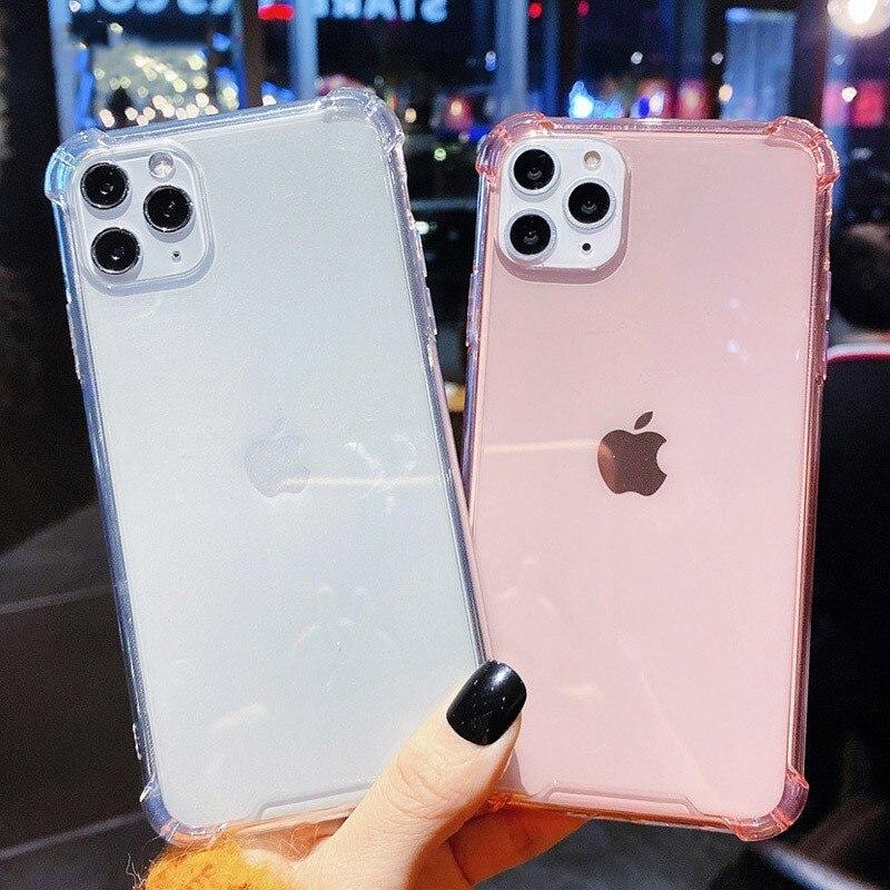Funda paragolpes transparente a prueba de golpes para IPhone 11 Pro Max XR Xs Max, funda de Color caramelo sólido para IPhone 6 6s 7 8Plus, funda de tpu suave