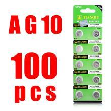 100x LR1130 AG10 V10GA Pile Bouton Bouton Pièce 189 389 390 LR54 Batteries 100 Pièces AG10 G10A SR1130 LR1130 390A D189 LR54