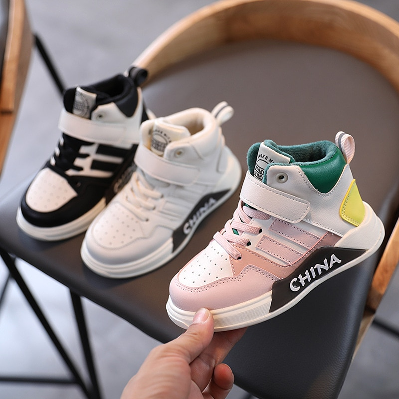 Children's sports shoes 2020 autumn and winter new girls cotton shoes boys high-top children's shoes