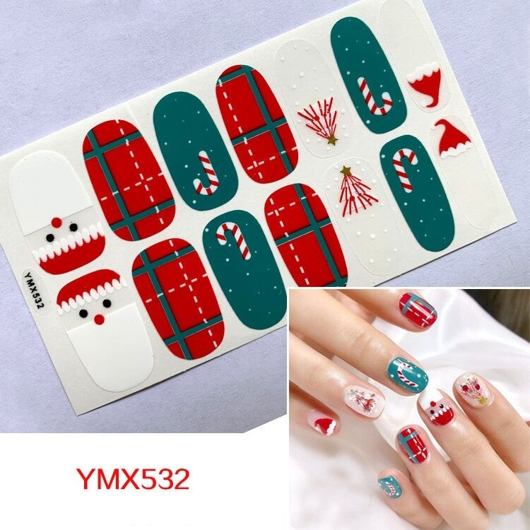 Christmas Full Cover Nail Polish Wraps Snowflakes Nail Art Decorations Starry Sticker Manicure Tools