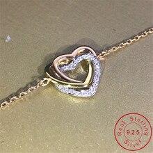 18K Gold Heart Diamond Bracelet Real 925 Sterling Silver Engagement Wedding Bracelets For Women Bridal 3 tone Party Jewelry Gift