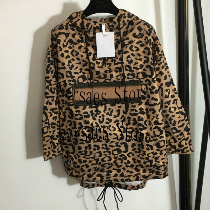 2021 luxury brand leopard letter printing fashion women's long sleeve top temperament Hooded Sweater casual versatile Pullover
