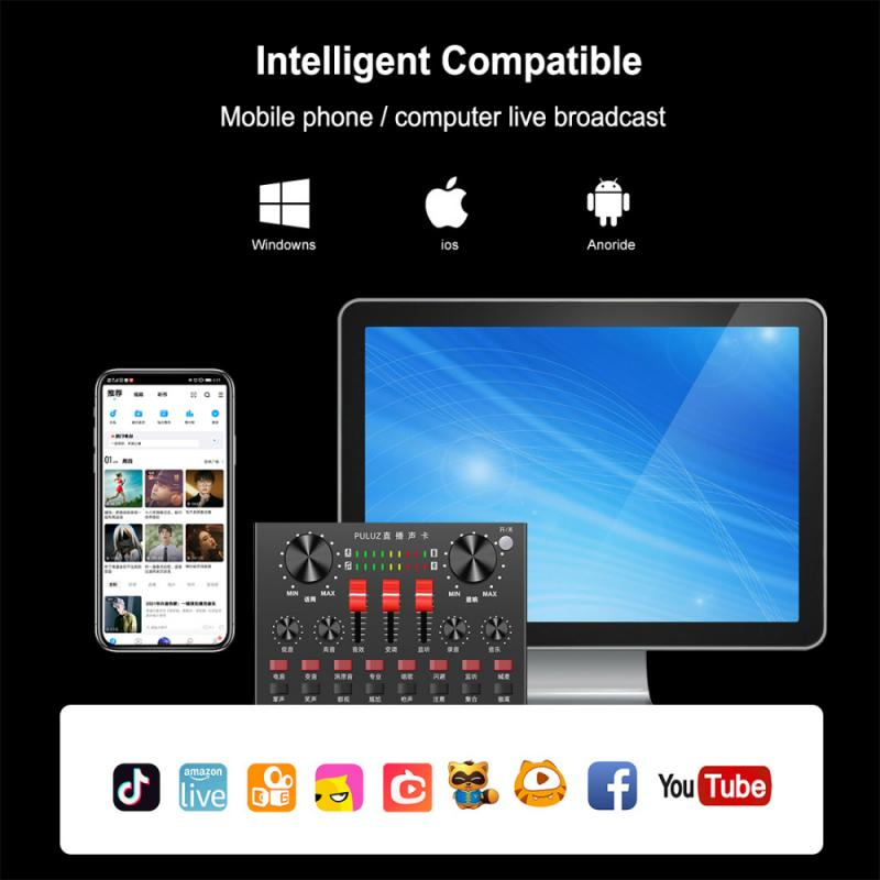 Bluetooth Karaoke Singing Recording Sound Mixer For Mobile Phone Computer Laptop Table PULUZ Live Broadcasting Sound Card enlarge