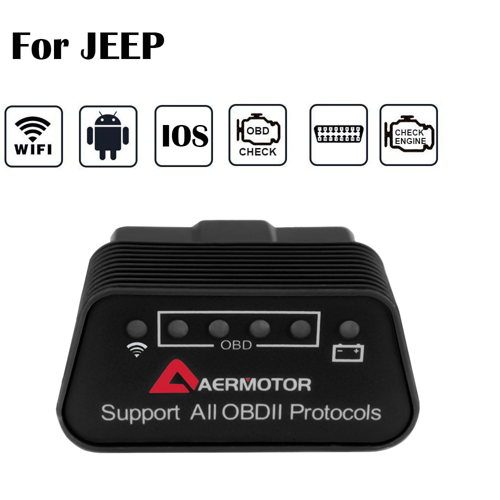 Para jeep cherokee wrangler grande renegado bússola patriot srt gladiador limitado elm327 wifi obd2 scanner ios android pic18f25k80
