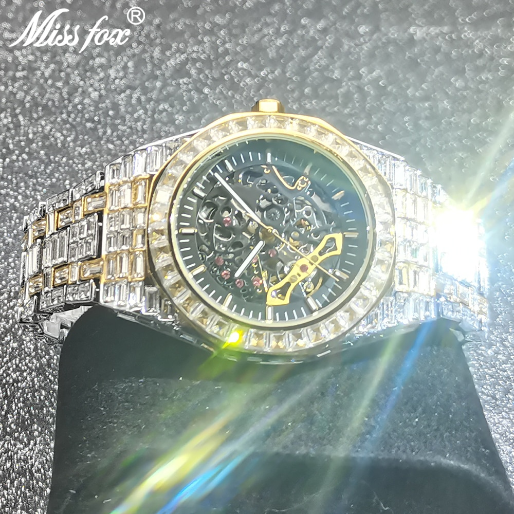 Hip Hop MISSFOX Hollow Mens Watches Automatic Mechanical Iced Out Square AAA Diamond Male High-end Bling Luxury Business Clocks