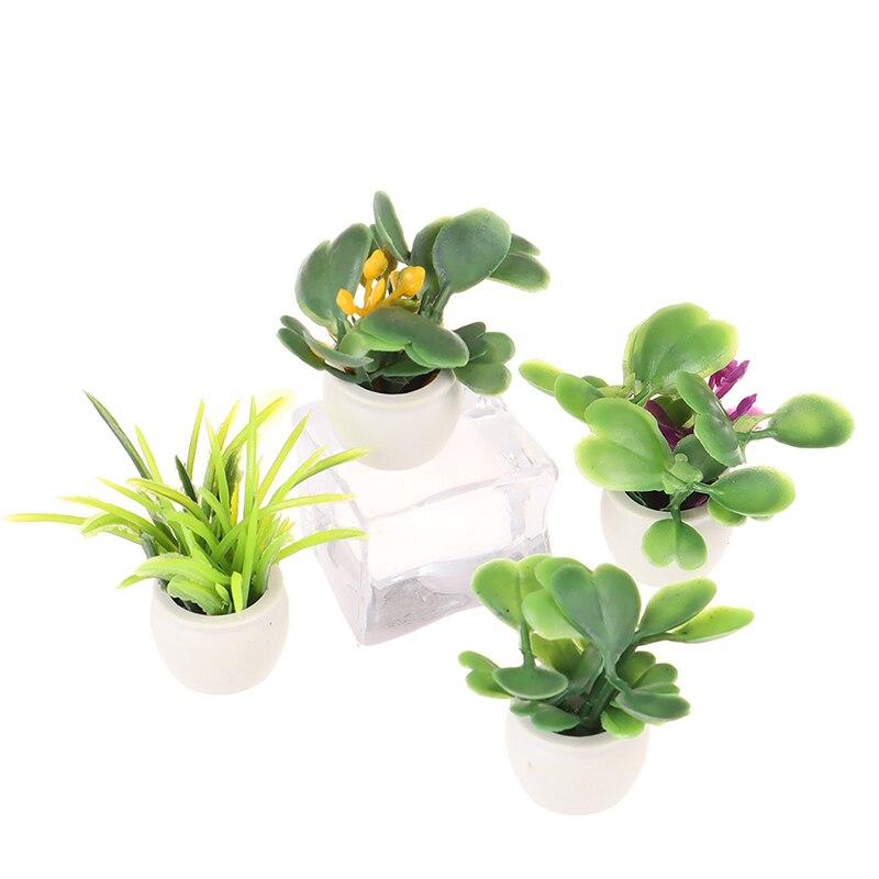 112 casa de bonecas em miniatura planta verde em pote móveis decoração para casa acessórios fingir brinquedos paly