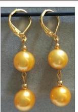 Beautiful 14k/20 Solid Gold Marke AAA 10-11MM South Sea white Pearl Earring