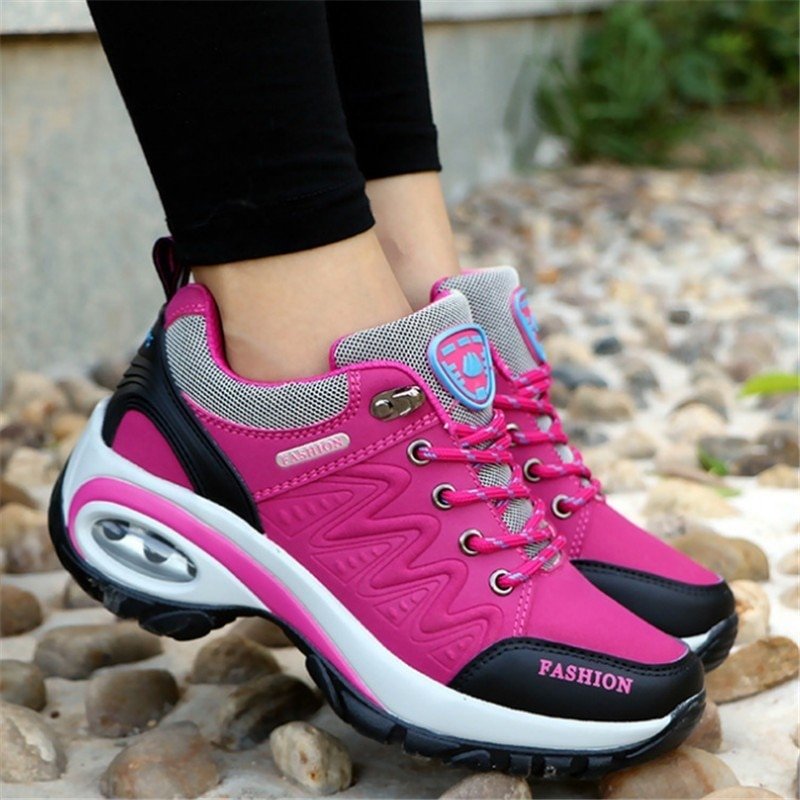New 2020 women sneakers high quality leather suede air damping hiking shoes non-slip woman sport winter