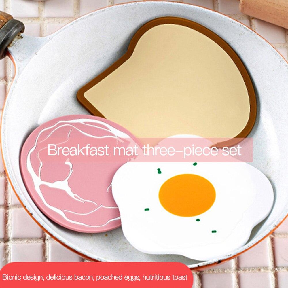 Mantel Individual de silicona para comedor, posavasos, accesorios de cocina, posavasos para mesa, de dibujos animados, 3 unidades