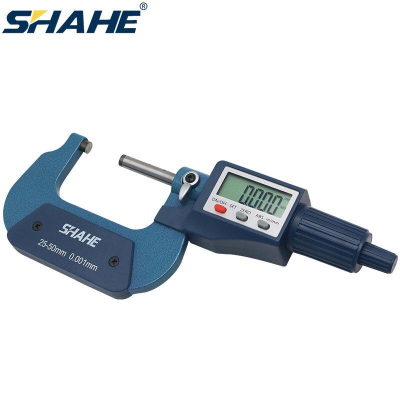 SHAHE 25-50 مللي متر الرقمية خارج ميكرومتر 0.001 مللي متر الإلكترونية الرقمية ميكرومتر الفرجار أدوات