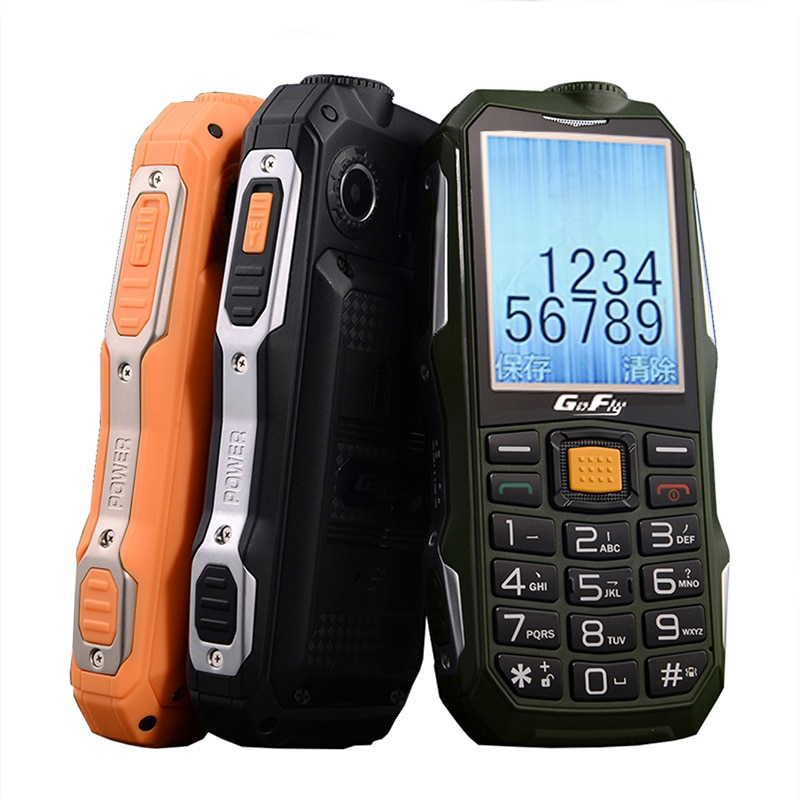 2G Gofly Outdoor Senior Rugged Mobile Phone Loud Sound Torch FM Long Standby Russian Key Power Bank Bluetooth Speed Dial