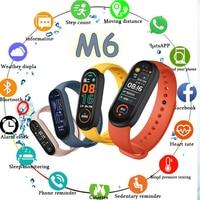 Смарт-часы M6 для мужчин и женщин, смарт-часы с пульсометром, фитнес-трекером, фитнес-браслет для отслеживания погоды в реальном времени, часы...