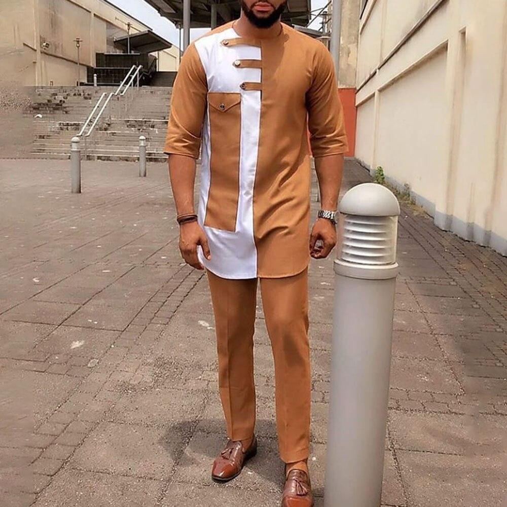 T-shirts de Manga Média dos Homens Meados de Comprimento Camisa de Moda Kit com Calças Costura Africano Jovem Masculino t Roupas Cor