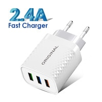 Вилка стандарта ЕС/США Quick Charge 3,0 USB Автомобильное зарядное устройство для телефона адаптер для iPhone 12 Pro XR планшет портативный Автомобильное ...