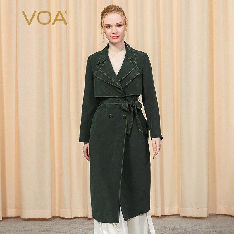 VOA 30 متر/شهر الحرير الثقيلة مزدوجة طوق طويلة الأكمام مزدوجة الصدر حزام قادرة على البريطانية الأعمال خندق معطف FE36 النساء الموضة