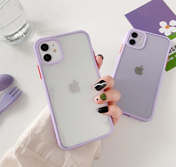 Funda de teléfono híbrida púrpura transparente para Iphone 11 Pro Max Xr Xs Max X 7 8plus, funda trasera de silicona Tpu transparente a prueba de golpes