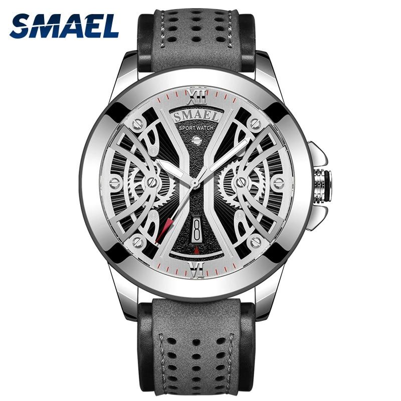 Часы SMAEL мужские наручные цифровые, Спортивные кварцевые аналоговые армейские в стиле милитари, с кожаным ремешком, с датой
