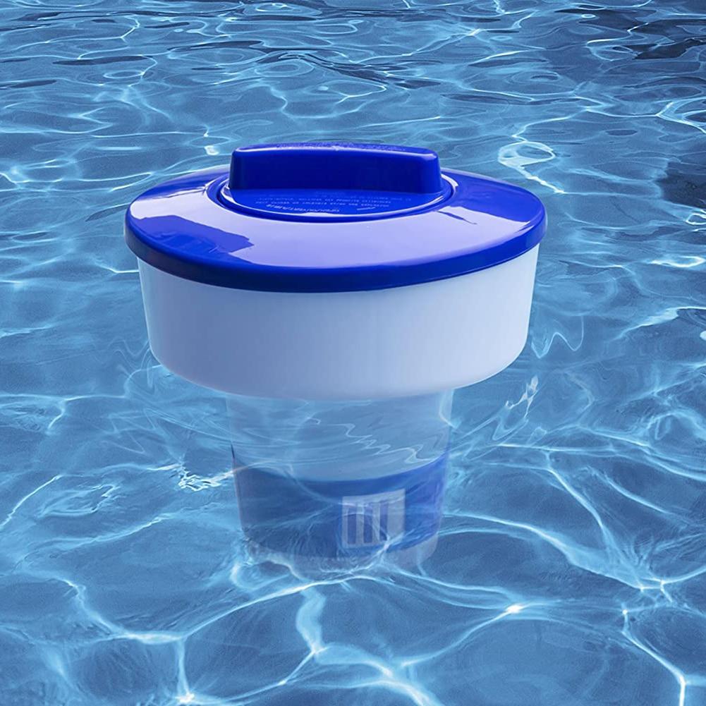 Dispensador de químicos para piscinas de 8/10 pulgadas, dispensador de cloro flotante para interiores, soporte para tableta de bromina para piscinas de verano al aire libre