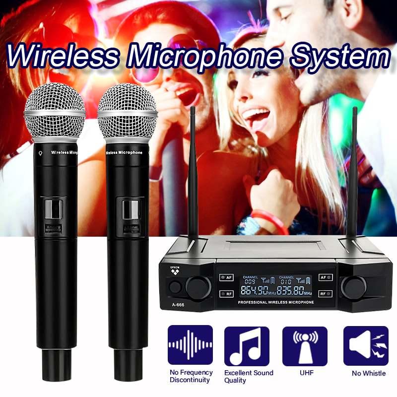 المهنية UHF ميكروفون لاسلكي نظام XLR المزدوج قناة التلقائي يده ميكروفون مع 100M تلقي ل Kraoke خطاب
