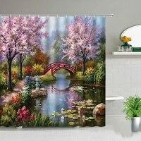 Rideau de douche de paysage de fleurs  peinture a lhuile  plante de cygne  rideau de bain de paysage de printemps  decor de salle de bains impermeable  tissu en Polyester