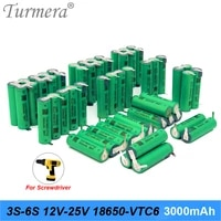 turmera 3s 12 6v 4s 16 8v 5s 21v 6s 25v vtc6 battery pack tur18650vtc6 3000mah battery 30a for 18v screwdriver battery customize