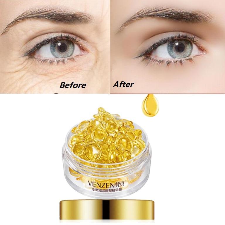 Creme escuro do removedor do círculo do creme do enrugamento para o cuidado dos olhos 30 pces/garrafa cápsulas da essência do ácido hialurónico anti enrugamento