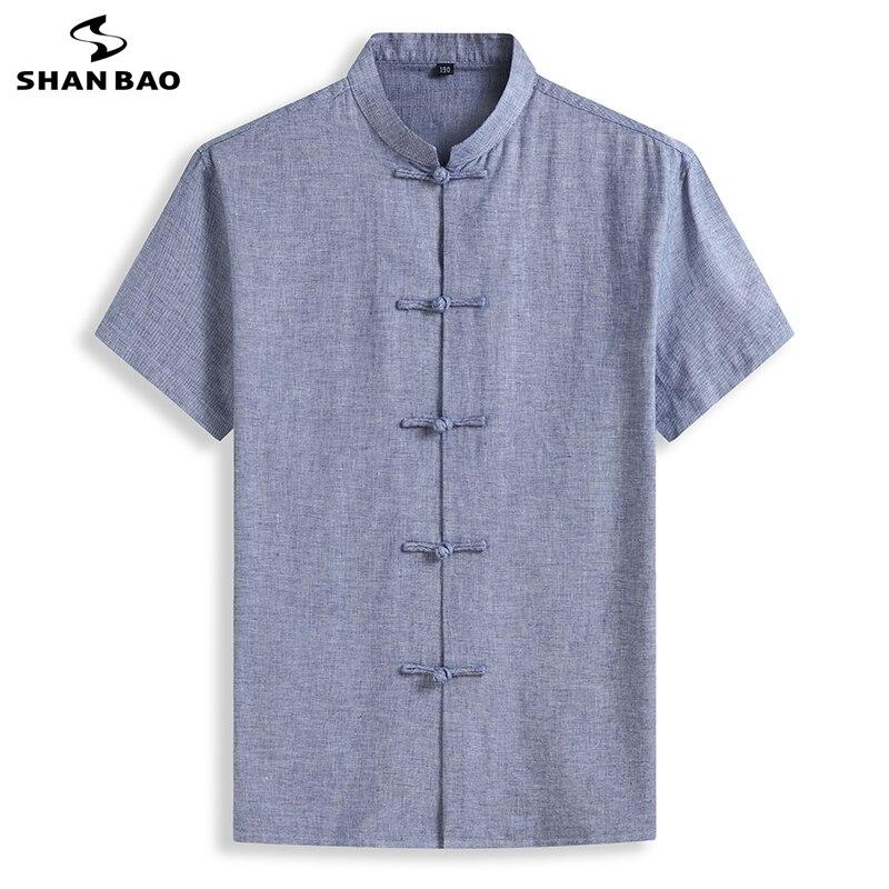 شان باو قميص عالي الجودة من القطن والكتان بأكمام قصيرة 2021 قميص صيفي كلاسيكي للرجال غير رسمي فضفاض على الطراز الصيني