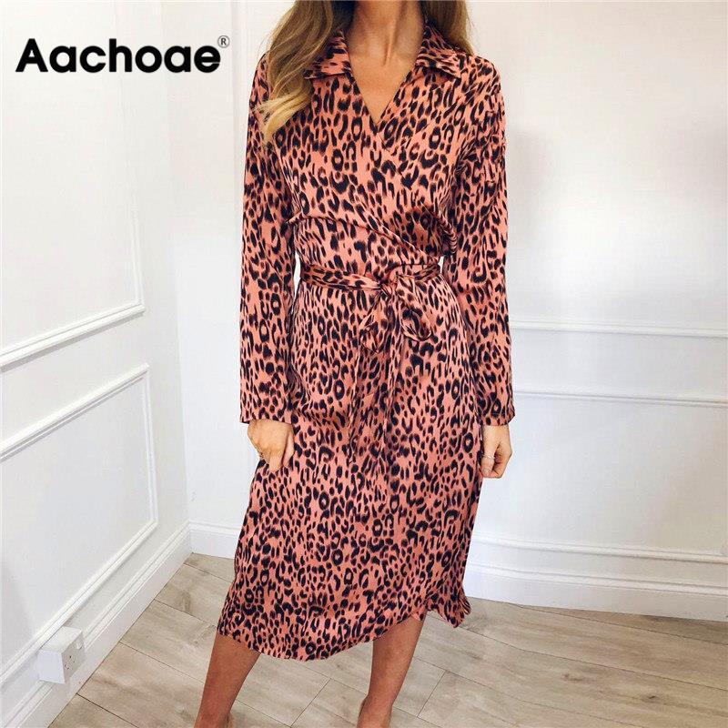 aliexpress - Aachoae Women Leopard Dress 2020 Sexy Bandage Party Long Dresses Vintage Long Sleeve Beach Dress Sundress Vestidos de fiesta