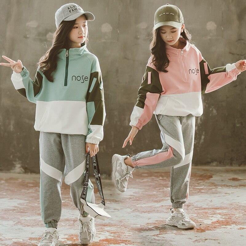 موضة 2020 بدلات الفتيات الرياضية مع سحّاب مجموعة ملابس الأطفال المراهقات لربيع الخريف بدلة رياضية للأطفال 4 6 8 10 12 13 سنة