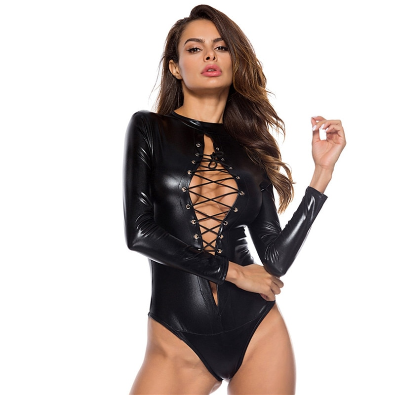 Сексуальное женское белье wetlook, кружевной латексный костюм из искусственной кожи, боди, фетиш костюмы, эротический костюм размера плюс 4XL, клубная одежда