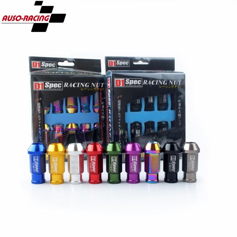 D1 Spec-20Pcs D1 Spe rendimiento Racing tuercas de rueda tornillo M12x1.5/1,25 longitud 50mm aluminio Universal