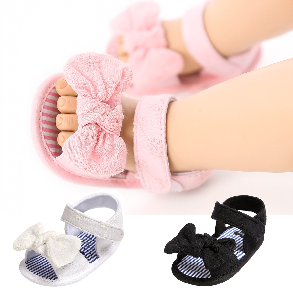 Summer New Baby Girl Sandals Cute Lace Floral Bows Toddler Girls Shoes Solid Color Soft Cotton Soled Todder