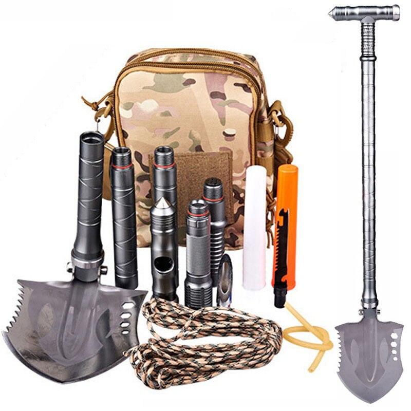 Pala táctica militar para acampar al aire libre 7DAI, herramientas multiherramienta, pala plegable, equipo Edc de pesca, herramienta multifuncional, equipo de Camping